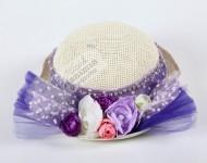Çiçekli Mor Şapka