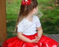 Gül Yapraklı Kırmızı Tütü